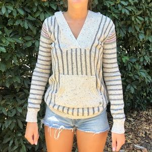 Roxy Striped Hooded Poncho